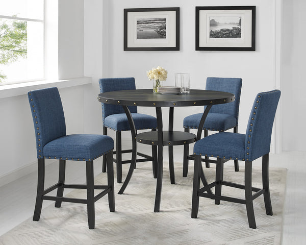 Biony Blue Fabric Counter Height Stools with Nailhead Trim, Set of 2