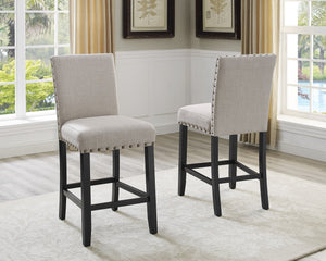 Biony Tan Fabric Counter Height Stools with Nailhead Trim, Set of 2