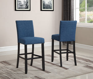 Biony Blue Fabric Bar Stools with Nailhead Trim, Set of 2