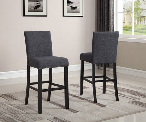Biony Gray Fabric Bar Stools with Nailhead Trim, Set of 2
