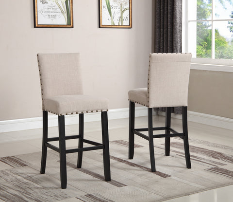 Biony Tan Fabric Bar Stools with Nailhead Trim, Set of 2