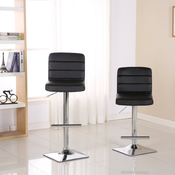 Bradford Black Faux Leather Swivel Height Adjustable Bar Stools with Square Chrome Base, Set of 2