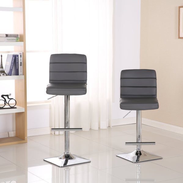 Bradford Grey Faux Leather Swivel Height Adjustable Bar Stools with Square Chrome Base, Set of 2
