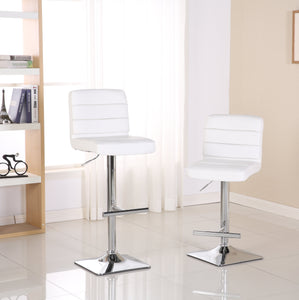Bradford White Faux Leather Swivel Height Adjustable Bar Stools with Square Chrome Base, Set of 2