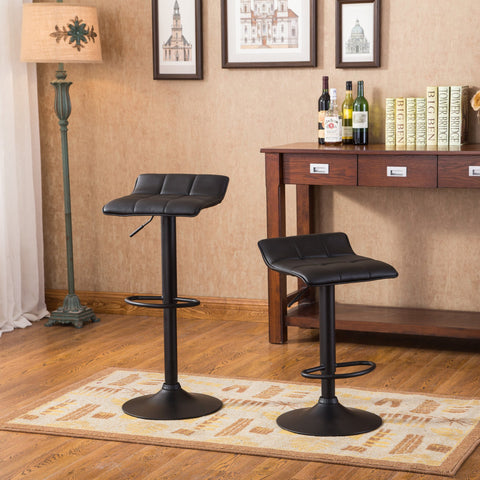 Belham Swivel Black Bonded Leather Adjustable Bar Stool, Set of 2