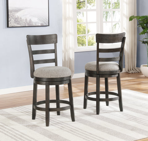 Kessel Brown Brushed Wood Swivel Counter Height Stools, Set of 2