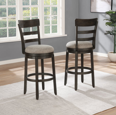 Kessel Brown Brushed Wood Swivel Barstools, Set of 2