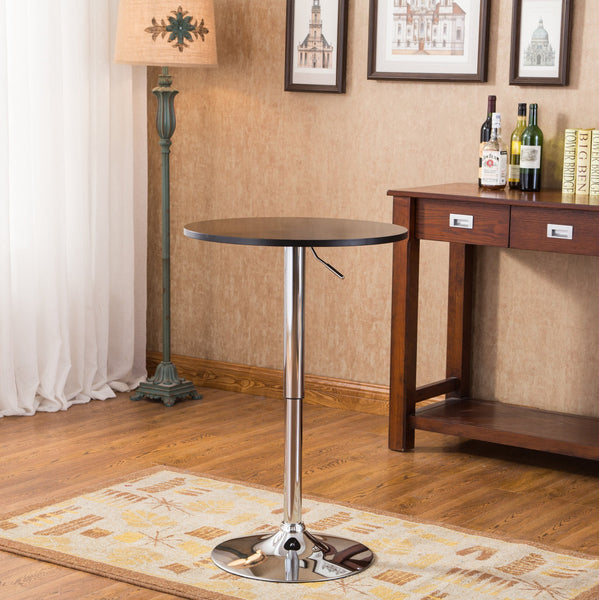Adjustable Wood and Metal Bar Table
