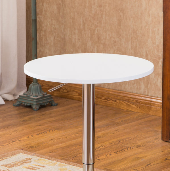 Baxton White Adjustable Height Wood and Chrome Metal Bar Table and 2 Chrome Air Lift Adjustable Swivel Stools Set