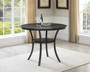 Biony Dining Collection Espresso Wood Counter Height Nailhead Dining Table
