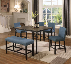 Biony Counter Height 6-Piece Espresso Wood Dining Set with Blue Fabric Nailhead Chairs and Pub Bench