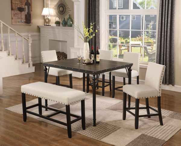Biony Counter Height 6-Piece Espresso Wood Dining Set with Tan Fabric Nailhead Chairs and Pub Bench