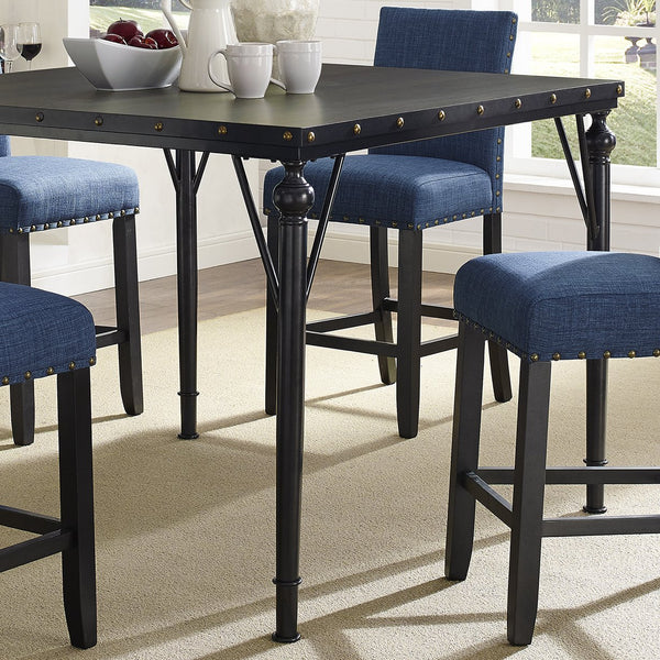 Biony Nailhead Counter Height Espresso Wood Dining Table with Metal Frame