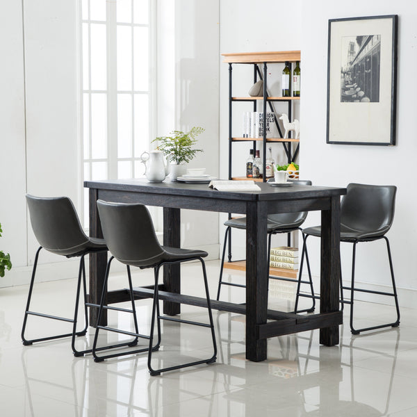 Bronco Antique Wood Finished Counter Height Dining Set: Table and Four Chairs, Grey