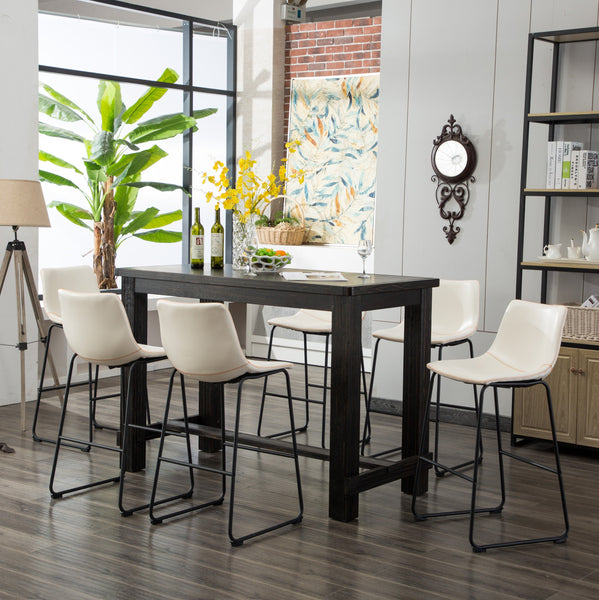 Bronco Antique Wood Finished Bar Dining Set: Table and Six Barstools, White