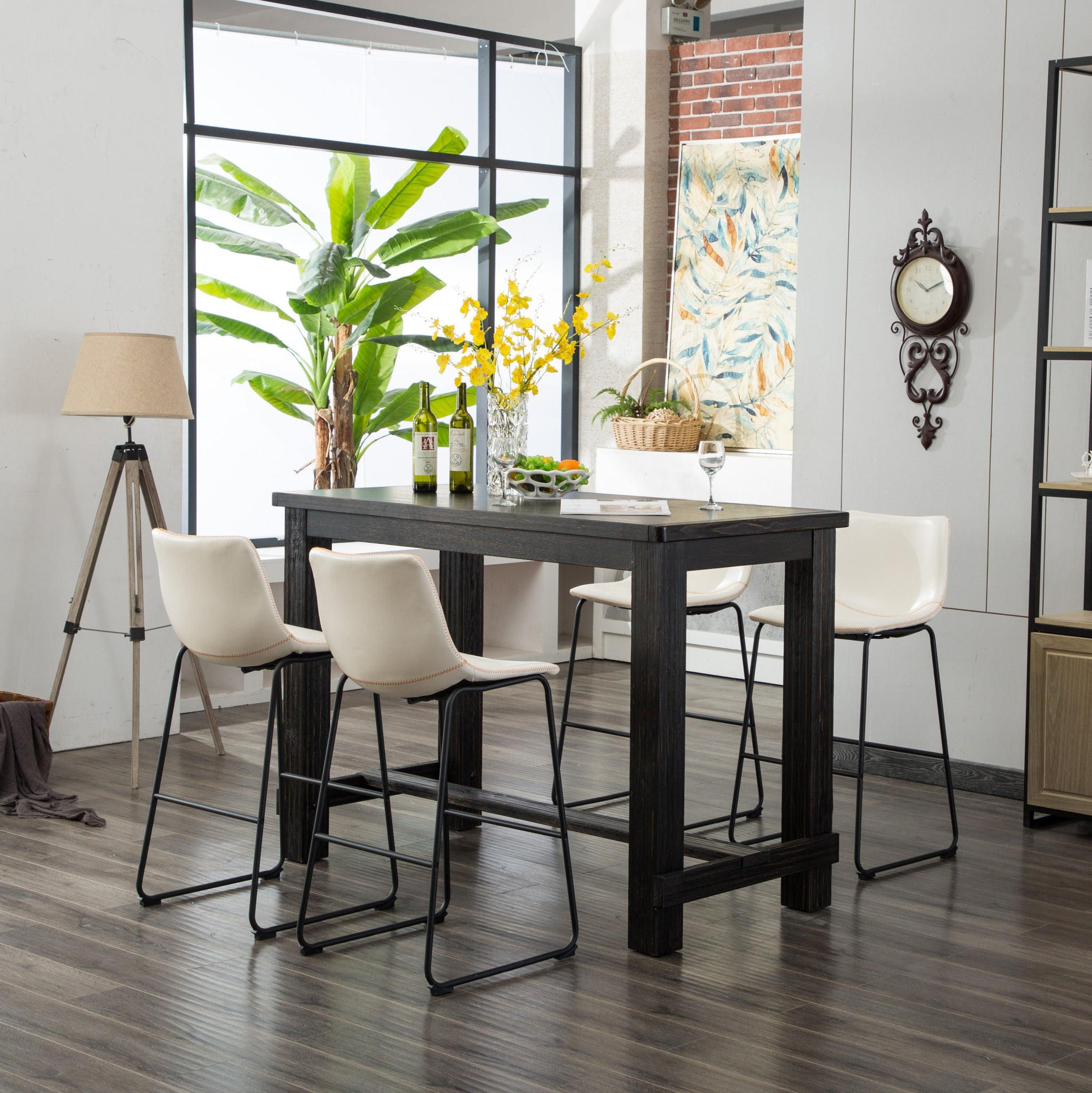 Bronco Antique Wood Finished Bar Dining Set: Table and Four Barstools, White