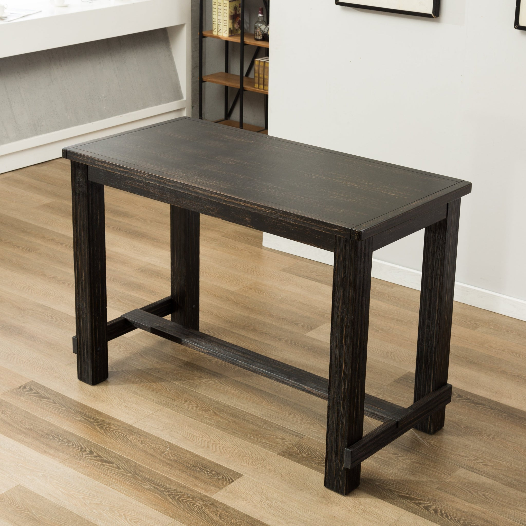 Lotusville Antique Black Finish Rectangular Wood Bar Height Dining Table