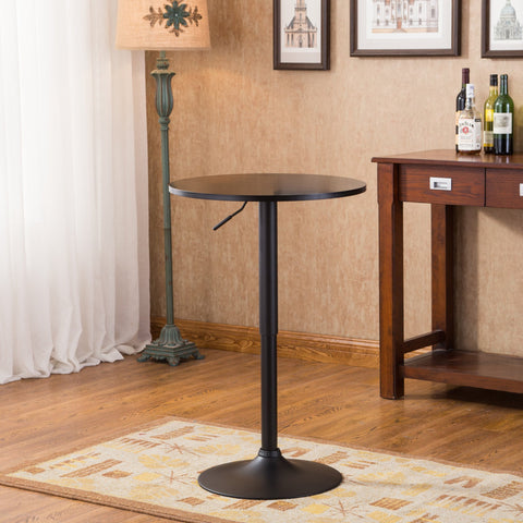 Belham Black Round Top Adjustable Height with Black Leg And Base Metal Bar Table
