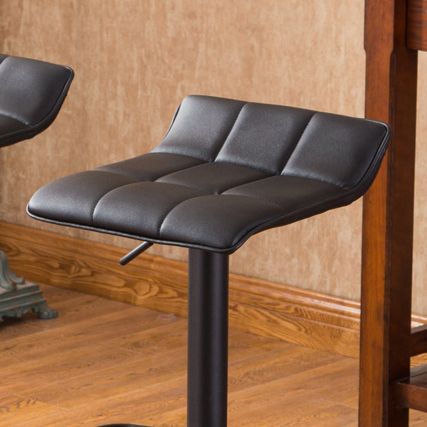 Belham Black Square Top Adjustable Height with Black Leg And Base Metal Bar Table and 2 Swivel Black Bonded Leather Adjustable Bar Stool Bar Sets