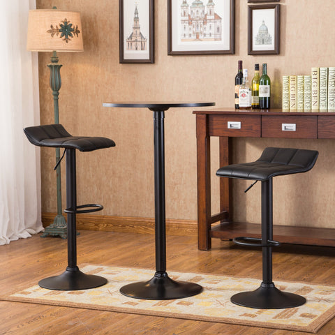Belham Black Round Top with Black Leg And Base Metal Bar Table and 2 Swivel Black Bonded Leather Adjustable Bar Stool Bar Sets