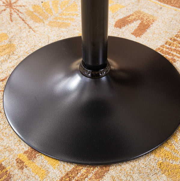 Belham Black Round Top with Black Leg And Base Metal Bar Table