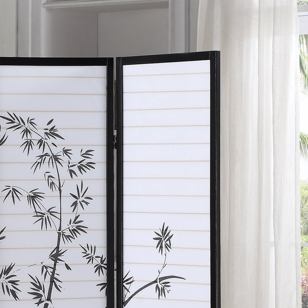 Bamboo Print 4-Panel Black Framed Room Screen/Divider