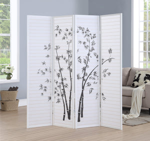 Bamboo Print 4-Panel White Framed Room Screen/Divider