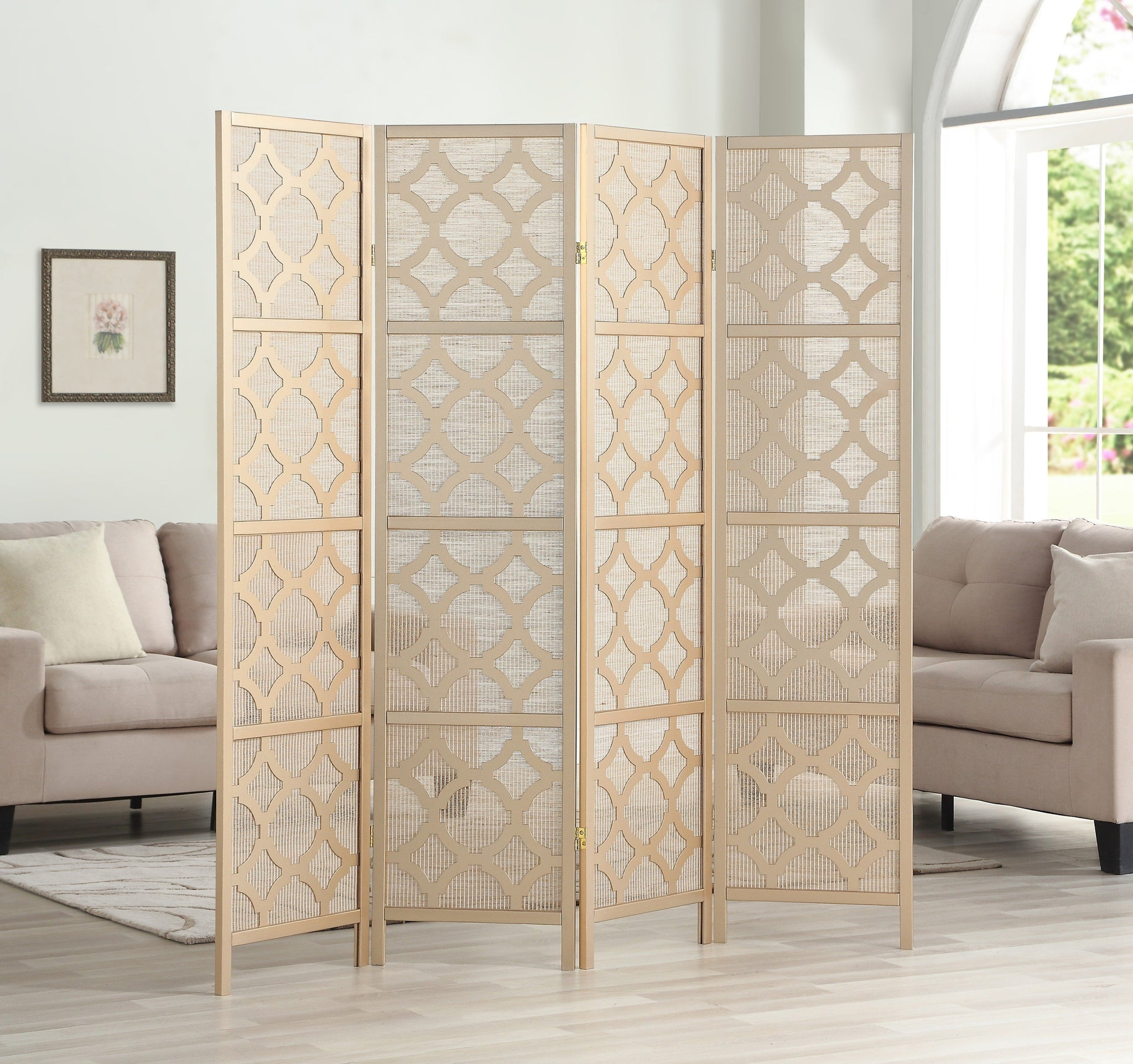Quarterfoil infused Diamond Design 4-Panel Room Divider, Gold
