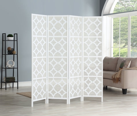 Quarterfoil infused Diamond Design 4-Panel Room Divider, White