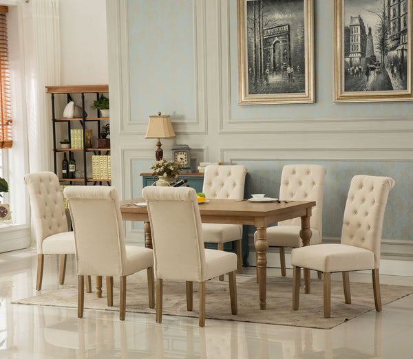 Habitanian Solid Wood Dining Table with 6 tufted Chairs, Tan