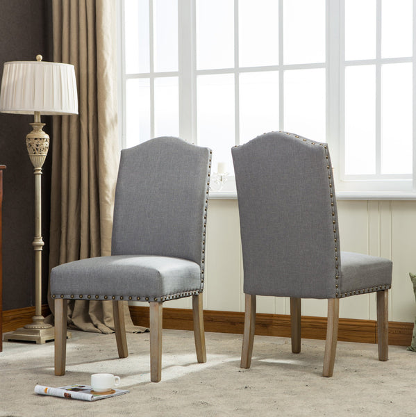 Habitanian Solid Wood Dining Table with 6 Nailhead Chairs, Gray
