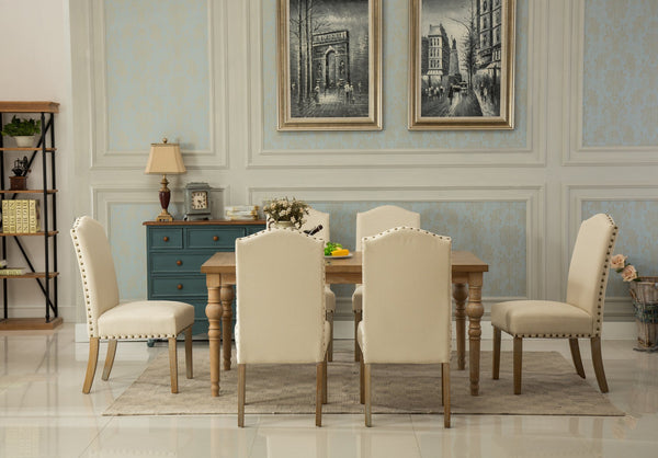 Habitanian Solid Wood Dining Table with 6 Nailhead Chairs, Tan
