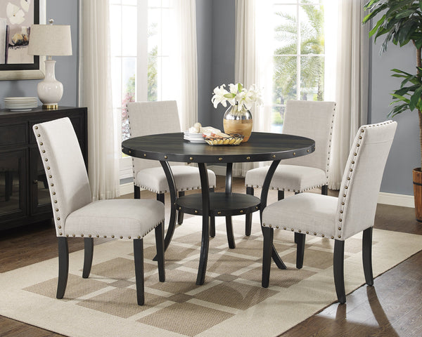 Biony Dining Collection Espresso Wood Nailhead Dining Table
