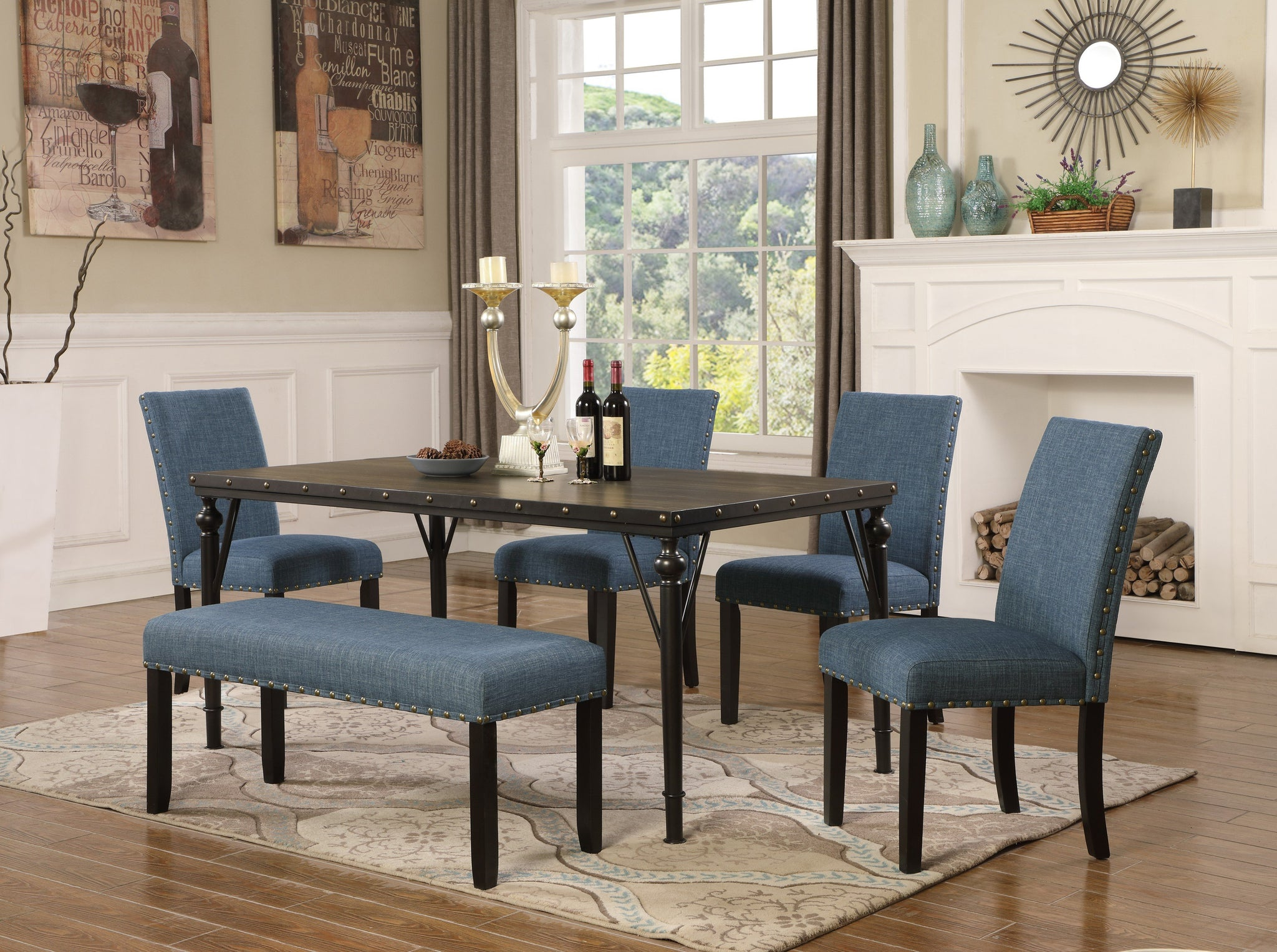 Biony 6-Piece Espresso Wood Dining Set with Blue Fabric Nailhead Chairs and Dinning Bench