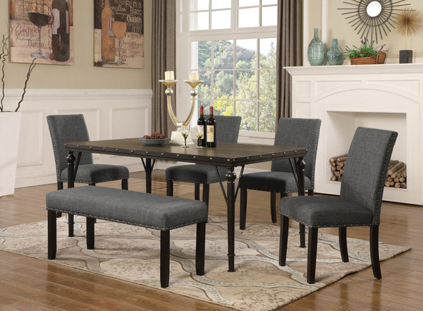 Biony 6-Piece Espresso Wood Dining Set with Grey Fabric Nailhead Chairs and Dinning Bench