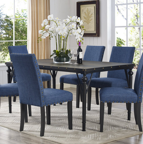 Biony Nailhead Espresso Wood Dining Table with Metal Frame