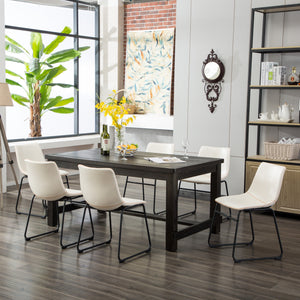Bronco Antique Wood Finished Dining Set: Table and Six Chairs, White