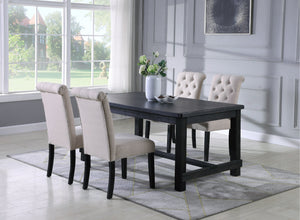 Leviton Antique Black Finished Wood Dining Set, Table with Four Chair, Tan