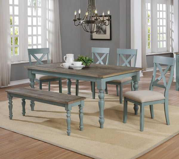 Prato 6-Piece Dining Table Set with Cross Back Chairs and Dining Bench