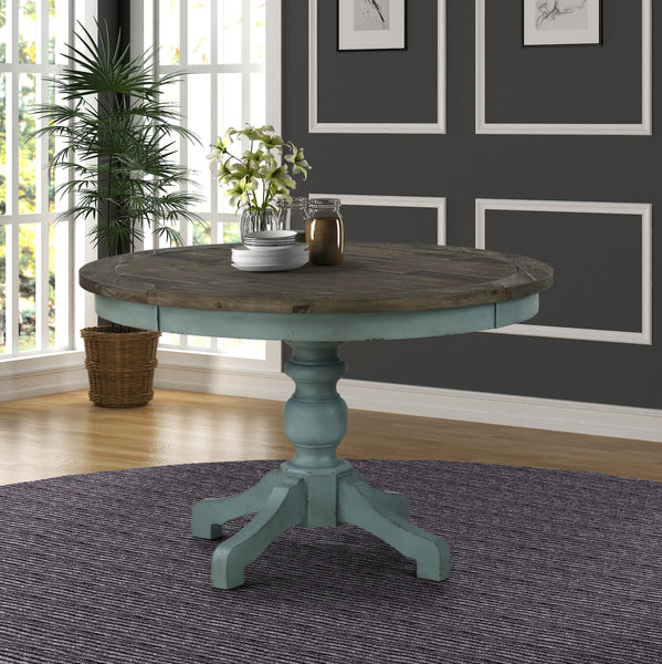 Prato Round Blue and Brown Two-Tone Finish Wood Dining Table
