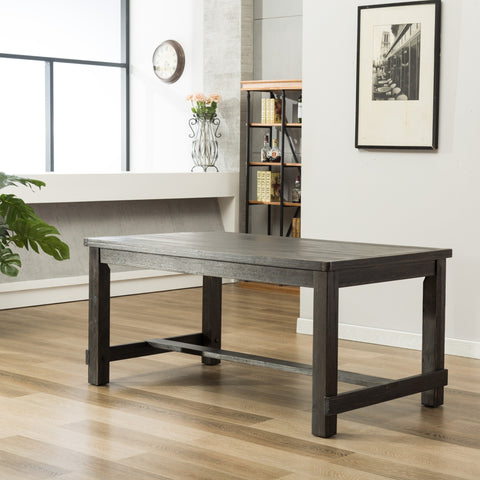 Lotusville Antique Black Finish Rectangular Wood Dining Table