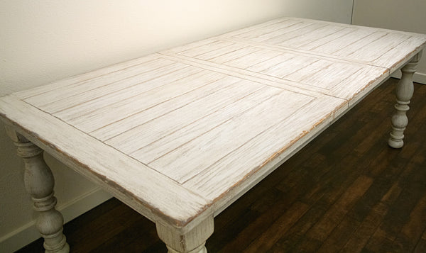 Trani Weathered Worn White Wood Dining Table with Extension Leaf