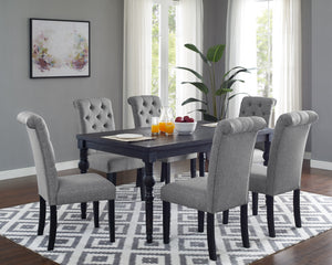 Leviton Urban Style Wood Dark Wash Turned-Leg Dining Set: Table and 6 Chairs, Gray