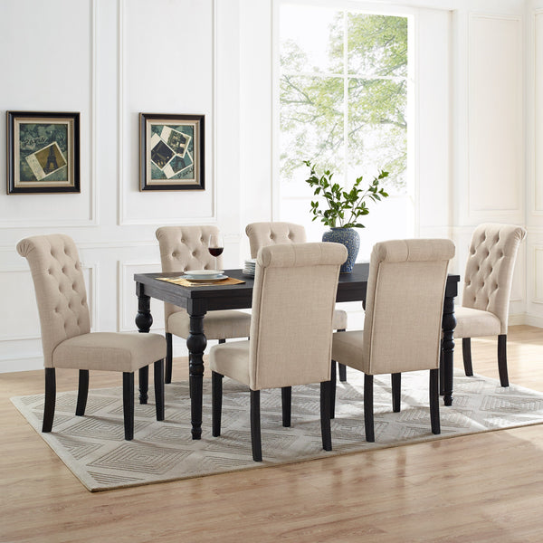 Leviton Urban Style Wood Dark Wash Turned-Leg Dining Set: Table and 6 Chairs, Tan
