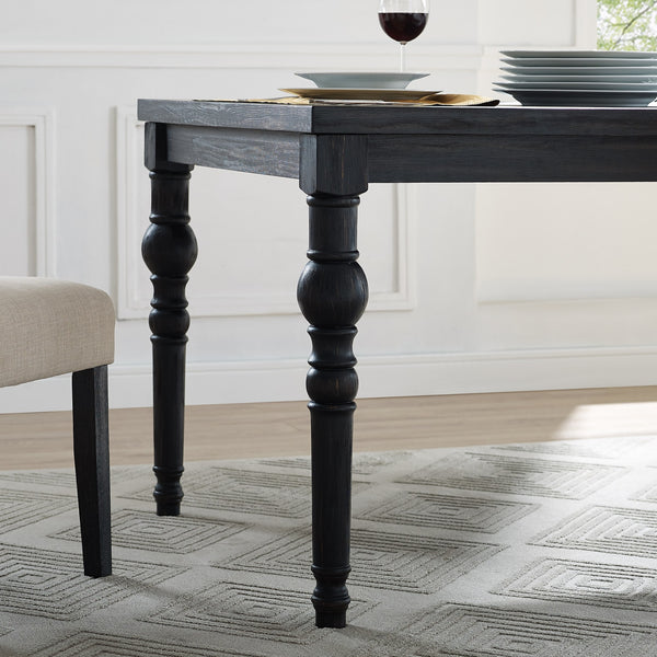 Leviton Urban Style Wood Dark Wash Turned-Leg Dining Table
