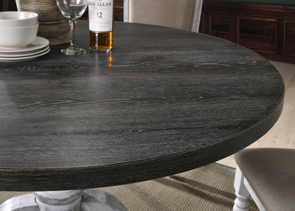 Iris Round Pedestal Wood Dining Table