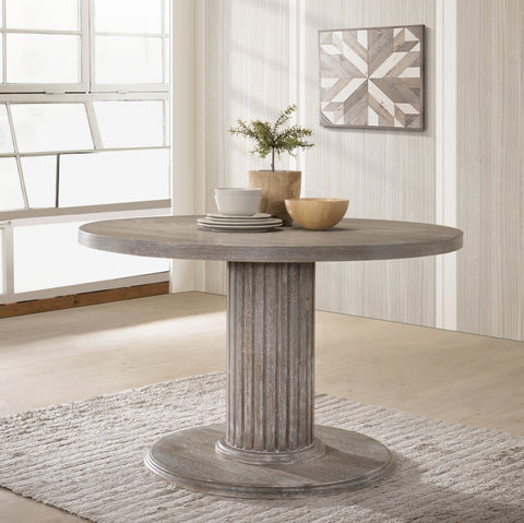 Ferran Wood Pedestal Dining Table in Reclaimed Gray