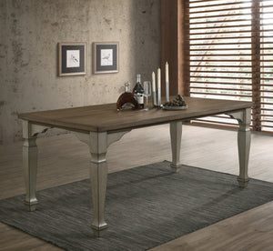 Breda Antique Gray and Dark Oak Finished Wood Dining Table