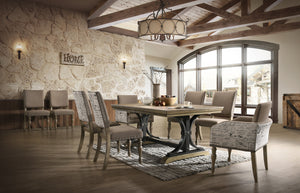 Birmingham 9-piece Driftwood Finish Table with Nail Head Arm Chairs Dining Set