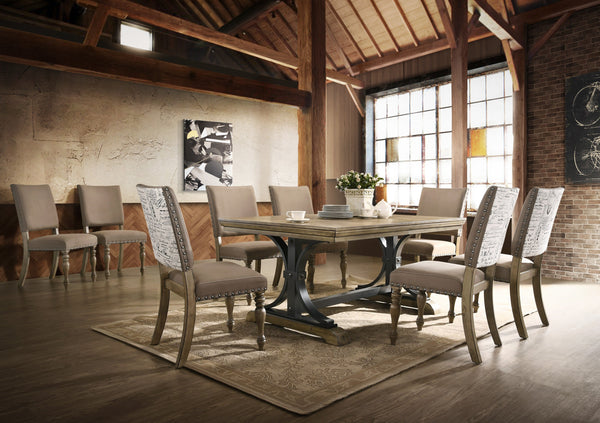 Birmingham 9-piece Driftwood Finish Table with Nail Head Chairs Dining Set